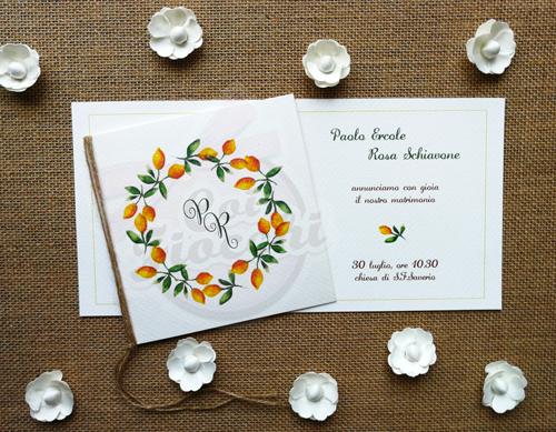 partecipazione-nozze rustica con ghirlanda di limoni dipinti ad acquerello