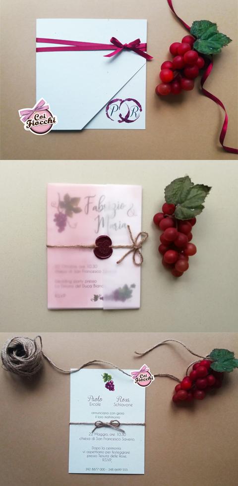 idee partecipazioni matrimonio a tema vino con uva o macchie