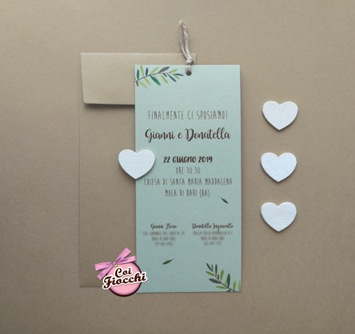 partecipazione-matrimonio-rustica- in carta kraft con rametti di ulivo