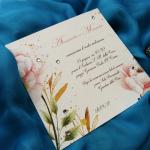 partecipazione romantica con strass e fiori