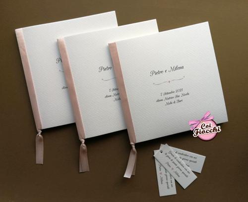 libretti matrimonio semplici con nastro rosa
