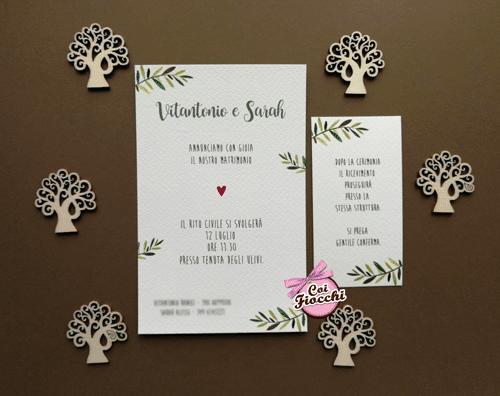 Partecipazione matrimonio in stile shabby chic con rametti di ulivo