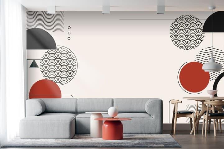 carta da parati su misura con motivi geometrici per salotto moderno