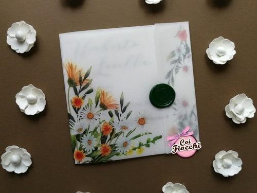 partecipazione nozze carta trasparente e margherite