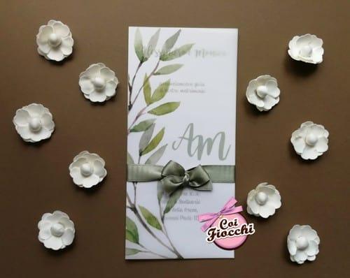 Partecipazioni di matrimonio su carta trasparente con ramo di ulivo