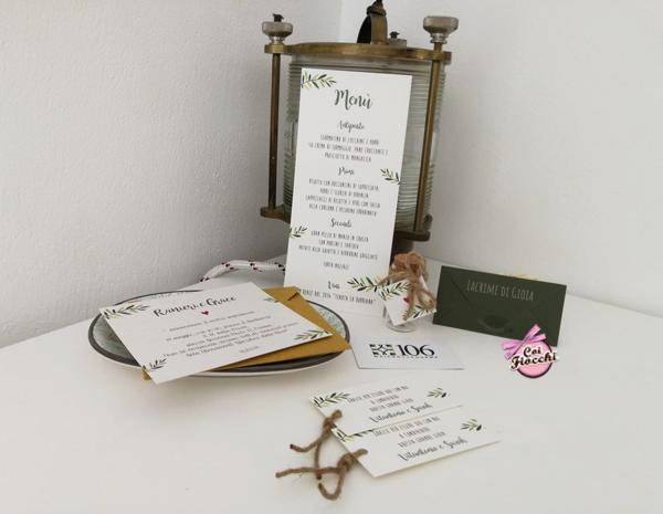 coordinato nozze a tema ulivo ispirato alla Puglia