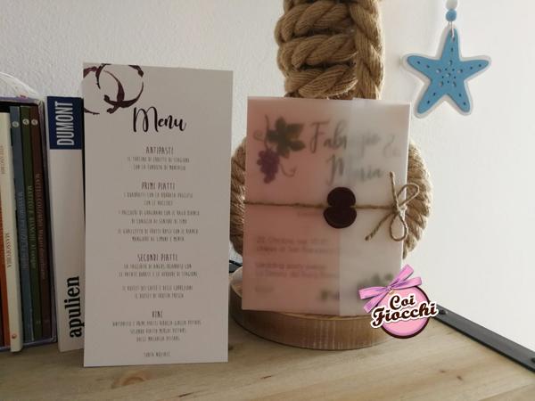 coordinato nozze a tema vino ispirato ai vigneti pugliesi.