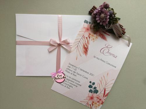 Invito comunione per bambina con fiori di pampas