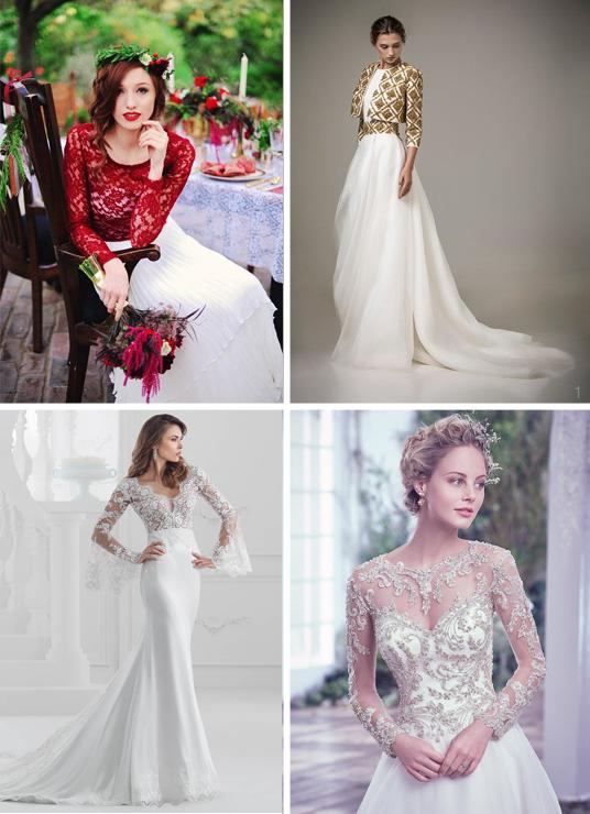 Abiti da sposa invernali con tocchi di colore rosso oro o con decorazioni Swarovsky