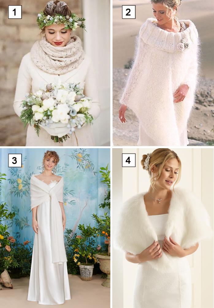 coprispalle per abiti da sposa invernali: sciarpa, poncho, stola