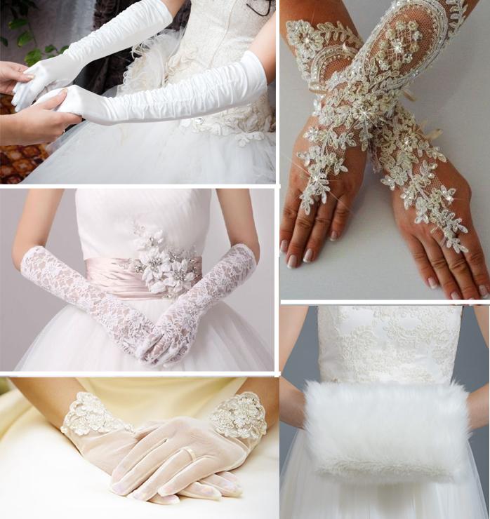 Modelli di guanti da sposa e manicotto in pelliccia.