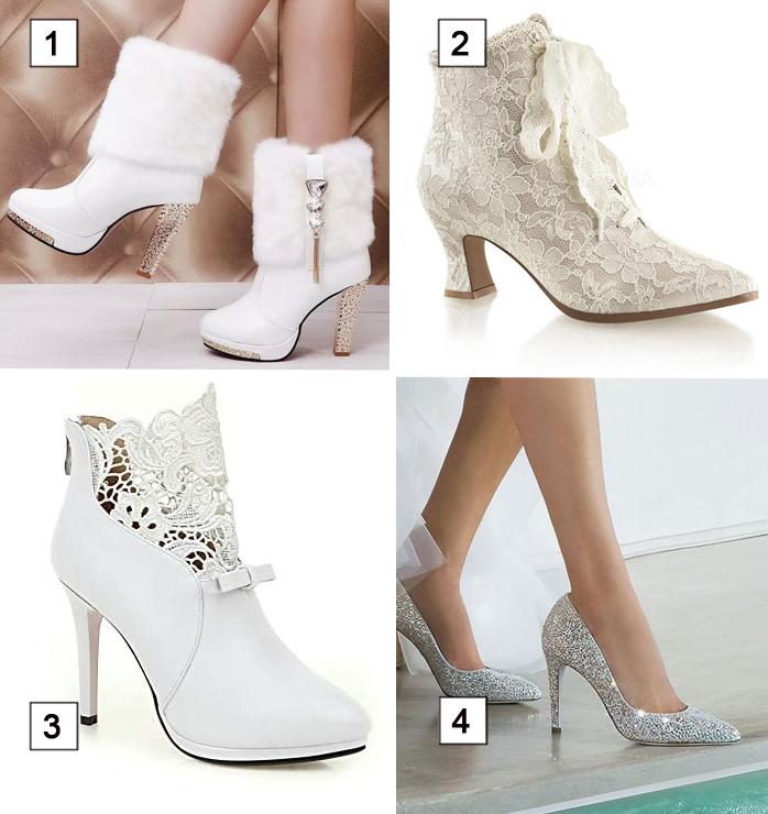 diversi tipi di scarpe invernali da sposa