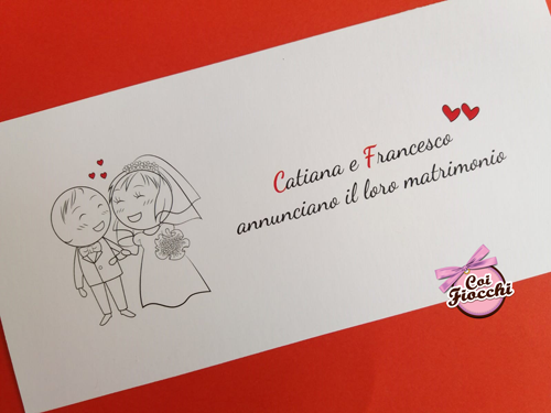 Partecipazione matrimonio semplice e economica con disegnini stilizzati.
